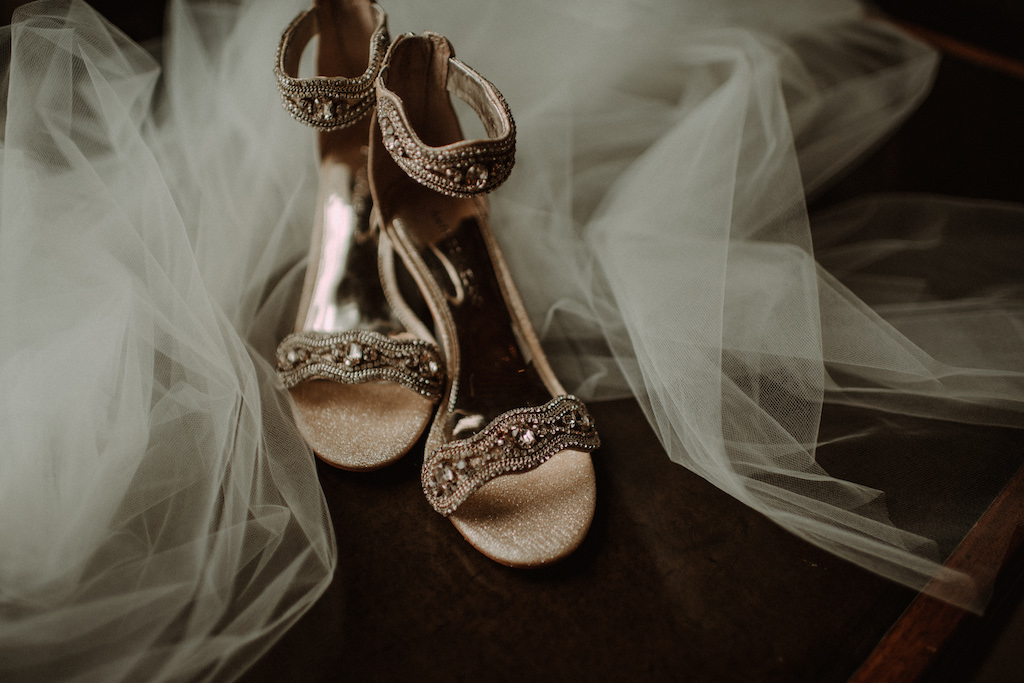 Gold Beaded Open Toe Wedding Shoes with Tulle Veil