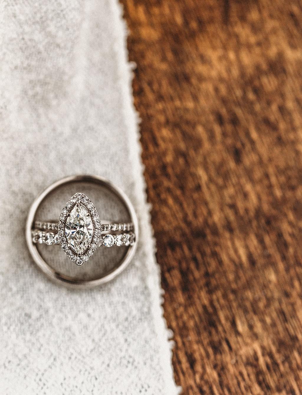 Diamond Wedding Ring, Marquise Cut Halo Diamond Engagement Ring in Men's Wedding Band