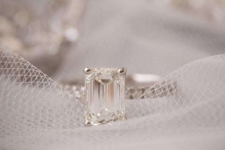 Emerald Cut Diamond Wedding Engagement Ring