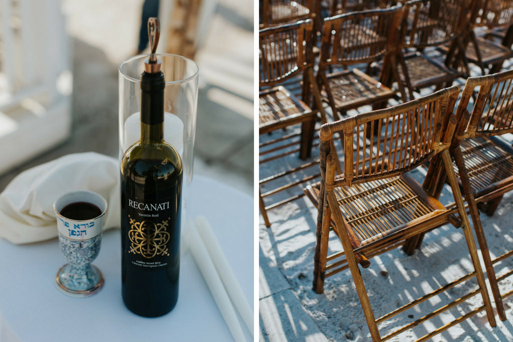 Outdoor Waterfront Beach Wedding Ceremony with Wooden Ceremony Chairs and Jewish Ceremony Wine