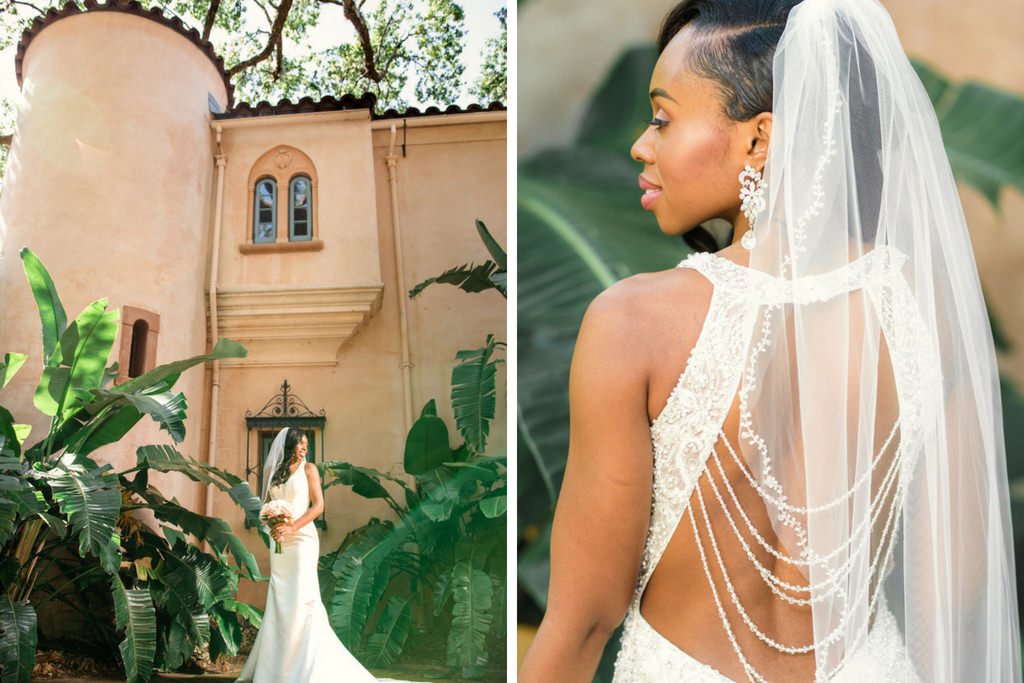 Outdoor Bridal Portrait in V-neck Rhinestone Beaded Bodice and with Keyhole Back and Beaded Detailing Wedding Dress and Veil   Tampa Wedding Dress Shop Truly Forever Bridal