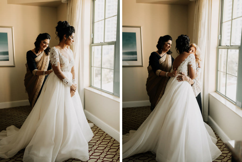 Bride Getting Ready Portrait in Long Sleeve Illusion and Lace Deep V-Neck A-Line Paloma Blanca Wedding Dress with Mom