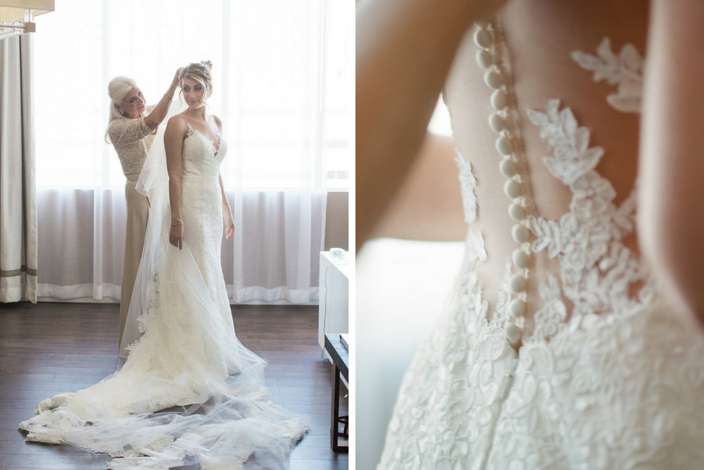 Bride Getting Ready Portrait in Spaghetti Strap V Neck Lace Mermaid Dress and Cathedral Length Tulle Lace and Tulle Veil, Illusion, Lace and Button Low Back Wedding Dress with Mother of the Bride