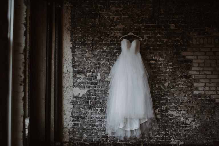 Sweetheart Strapless Tulle Wedding Dress on Hanger   Tampa Bay Wedding Venue Oxford Exchange   Bridal Shop The Bride Tampa