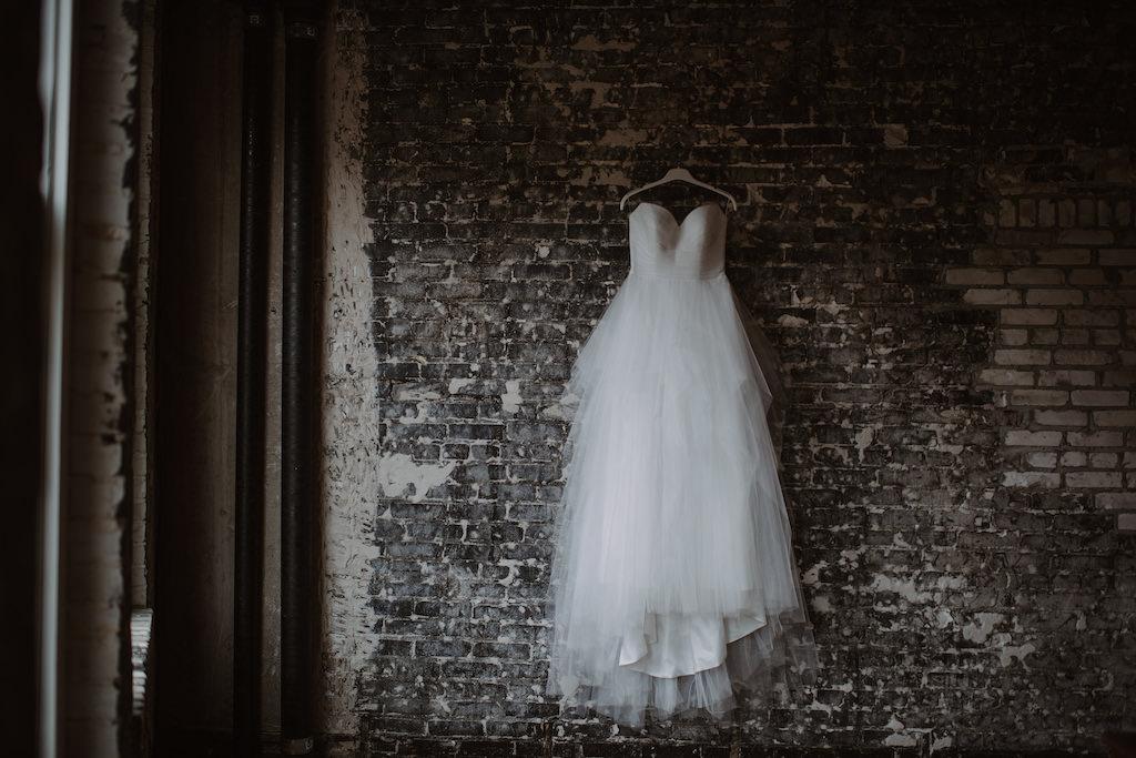 Sweetheart Strapless Tulle Wedding Dress on Hanger | Tampa Bay Wedding Venue Oxford Exchange | Bridal Shop The Bride Tampa