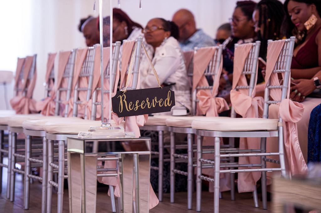 Indoor Wedding Ceremony Decor, Silver Chiavari Chairs and Blush Pink Sashes