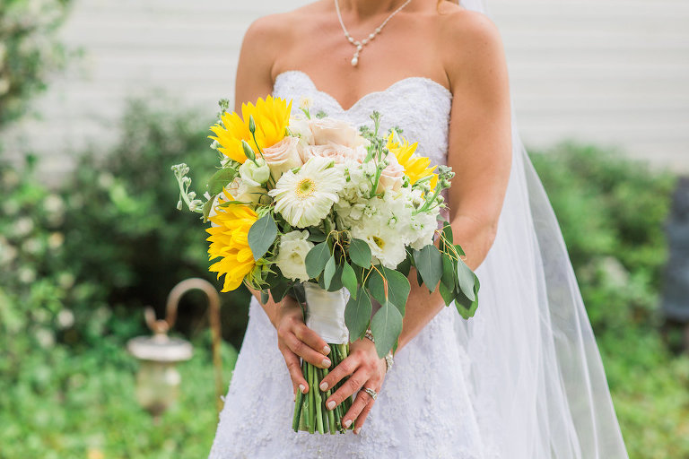 Outdoor Bridal Portrait Sweetheart Strapless Lace A-Line Wedding Dress and Veil with White Daisy, Yellow Sunflower and Greenery Floral Bouquet