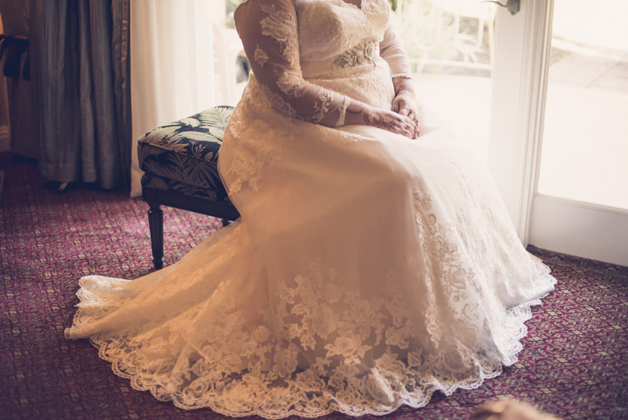 Bridal Portrait with Henna and Long Sleeve Illusion and Lace Wedding Dress   Tampa Bay Wedding Photographer Luxe Light Photography