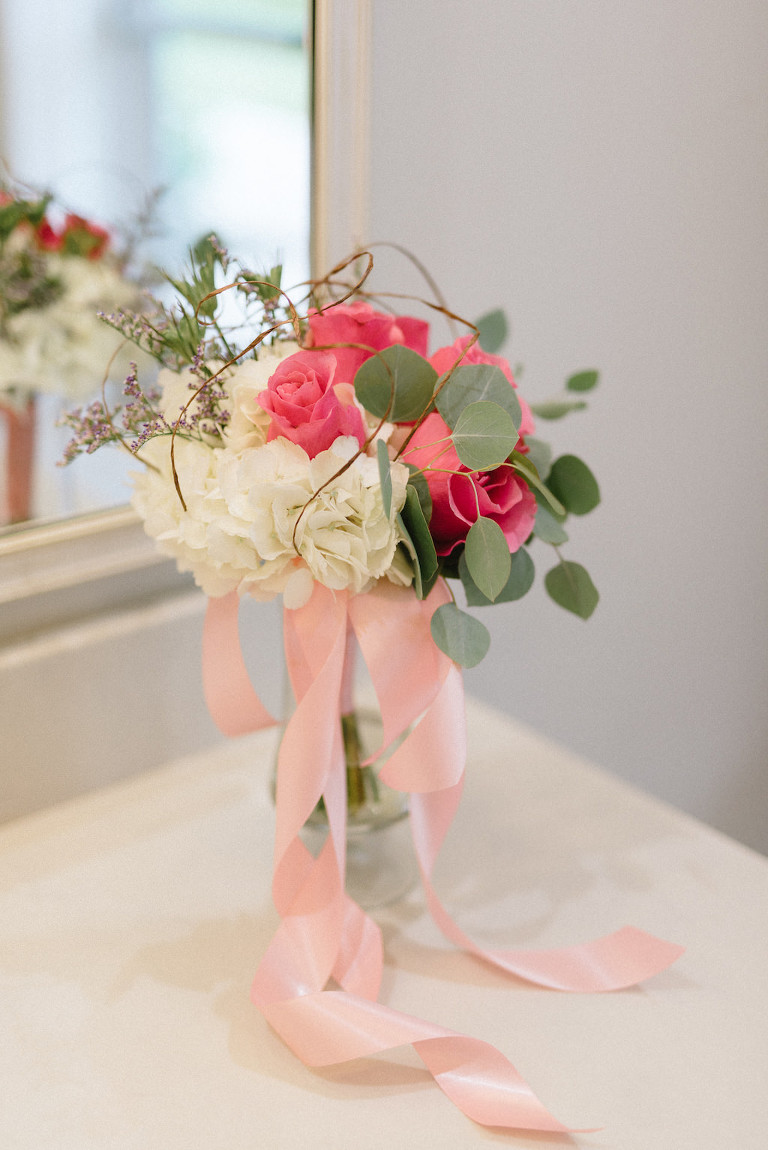 Simple Wedding Ceremony Decor, White Hydrangea, Pink Roses and Greenery Floral Bouquet with Blush Pink Ribbon in Glass Vase | St Pete Florist Apple Blossoms Floral Designs | Tampa Wedding Photographer Kera Photography