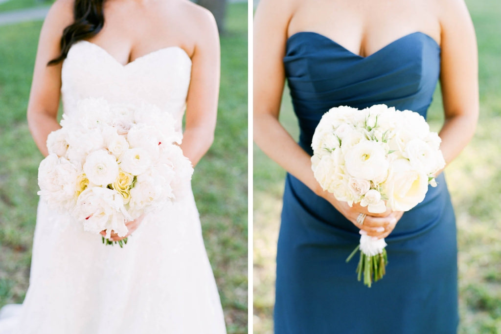 Outdoor Bridal Party Portrait Bride in Sweetheart Wedding Dress, Bridesmaid in Sweetheart Navy Blue Dress with Ivory Floral Bouquet