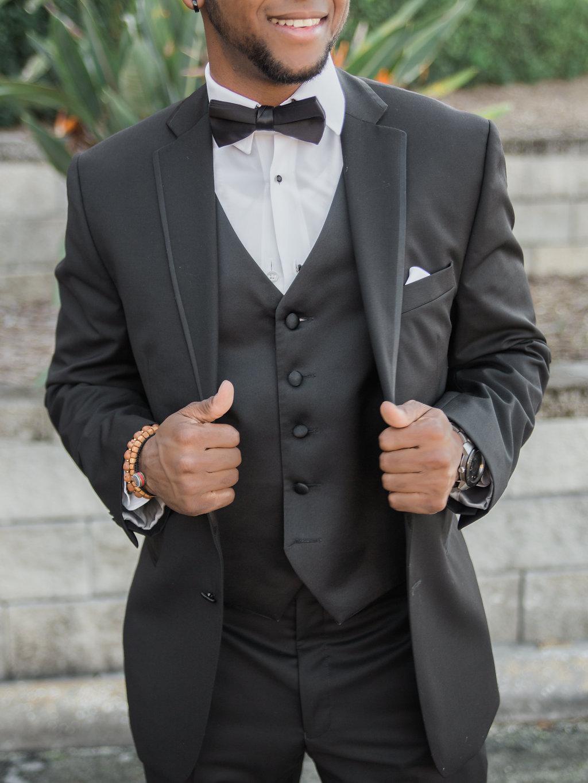 Outdoor Groom Wedding Portrait in Black Tuxedo with Black Bowtie and Vest