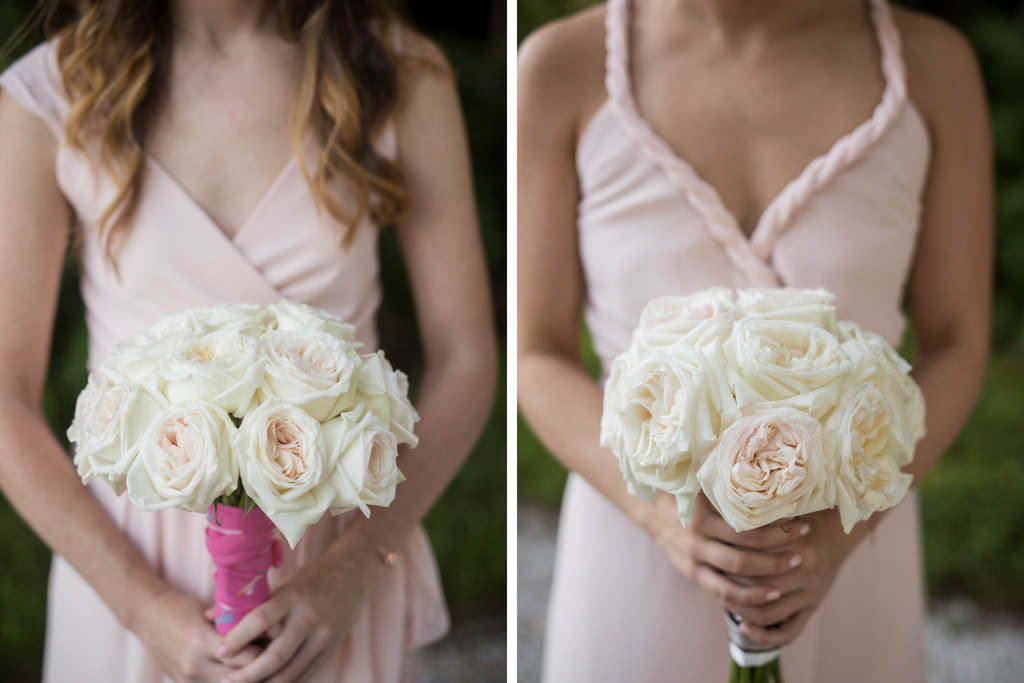 White Rose Wedding Bouquets with Blush Pink Mismatched Bella Bridesmaids Wedding Dresses