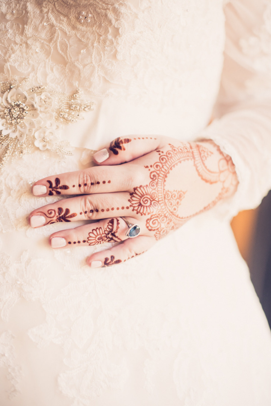 Bridal Portrait with Indian Henna and Long Sleeve Illusion, Lace and Rhinestone Floral Accent Wedding Dress   Tampa Bay Wedding Photographer Luxe Light Photography