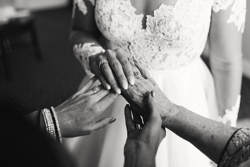 Bride, Mom and Grandmother's Hands Black and White Portrait