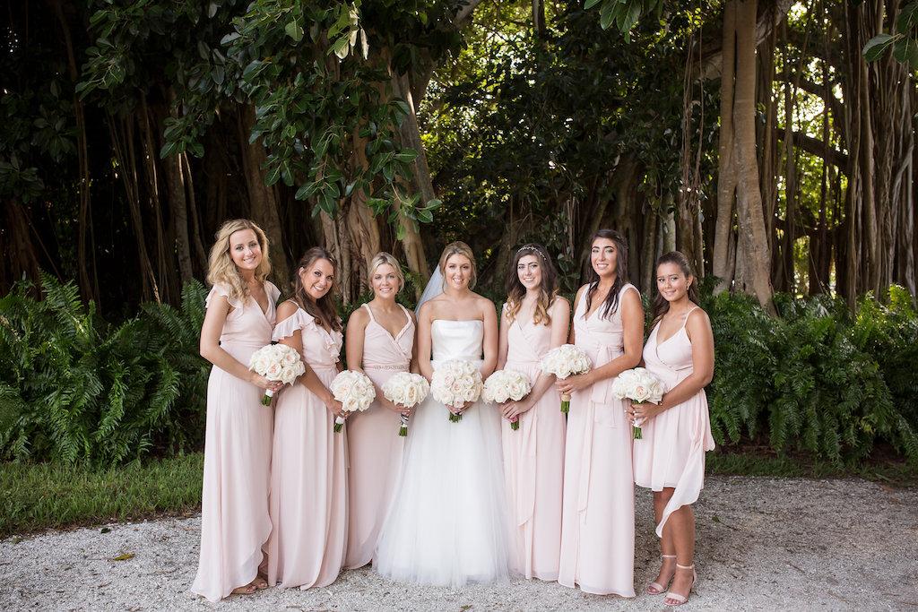 White Rose Wedding Bouquets with Blush Pink Mismatched Bella Bridesmaids Wedding Dresses | Bridal Party Wedding Dress Ideas | Sarasota Wedding Photographer Cat Pennenga Photography