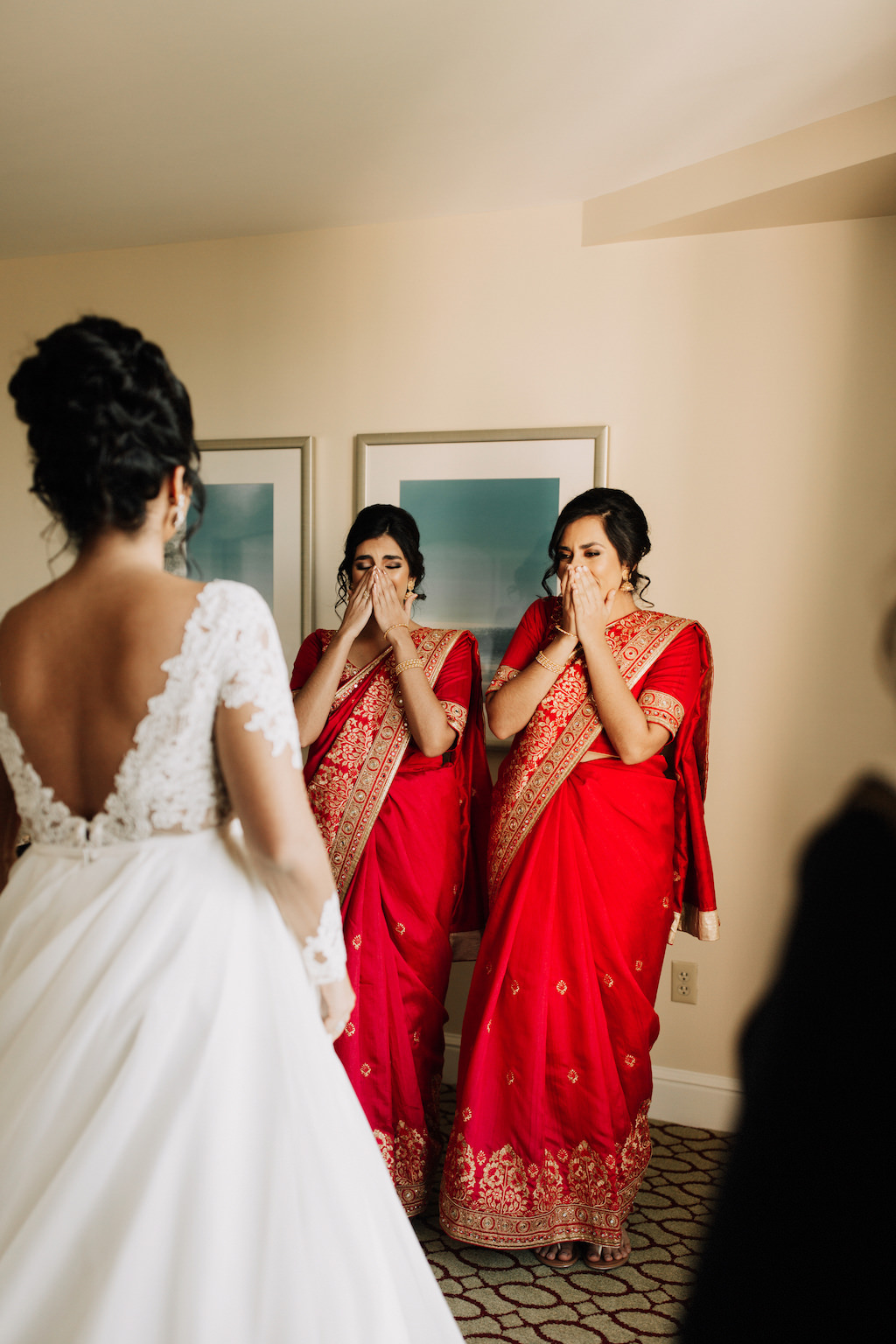 Bridal Party First Look Portrait, Bridesmaids in Red Indian Sarees