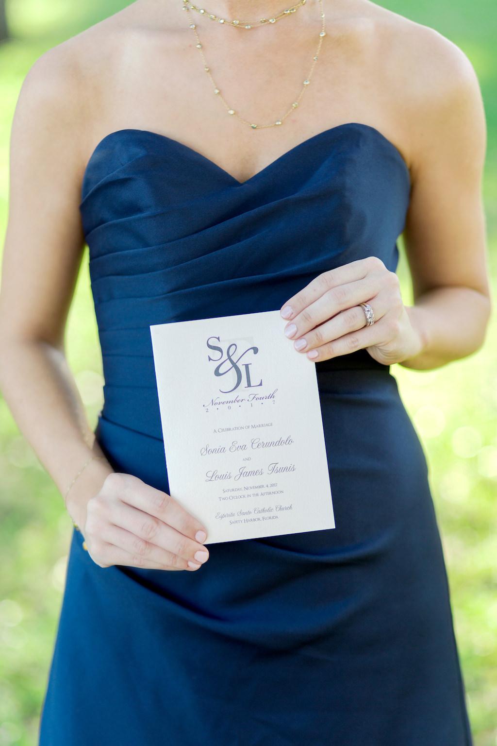 Navy Blue Bridesmaid Dress and White and Blue Wedding Program