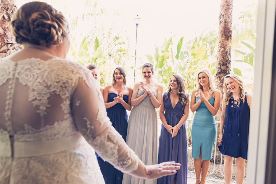 Outdoor Bridal Party First Look Reaction Portrait, Bridesmaids in Mismatched Dresses   Tampa Bay Wedding Photographer Luxe Light Photography