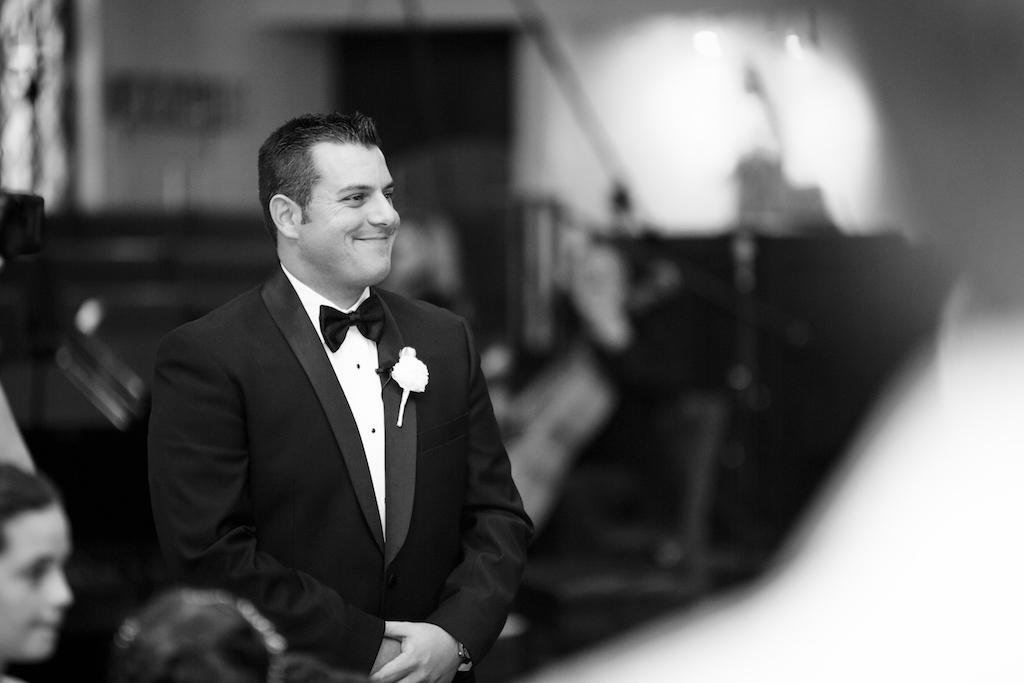 Groom Watching Bride Walk Down Aisle, Wedding Ceremony Portrait