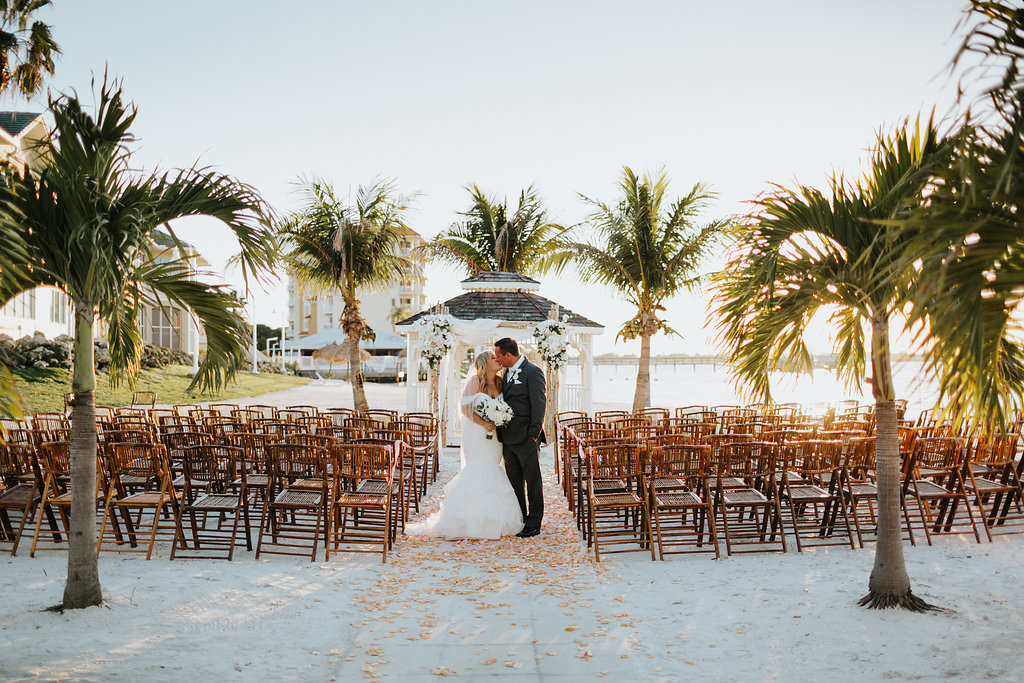 Outdoor Beach Wedding Ceremony at Gazebo with Birchwood Arch, White Draping and White Florals   Waterfront Venue Isla Del Sol Yacht and Country Club