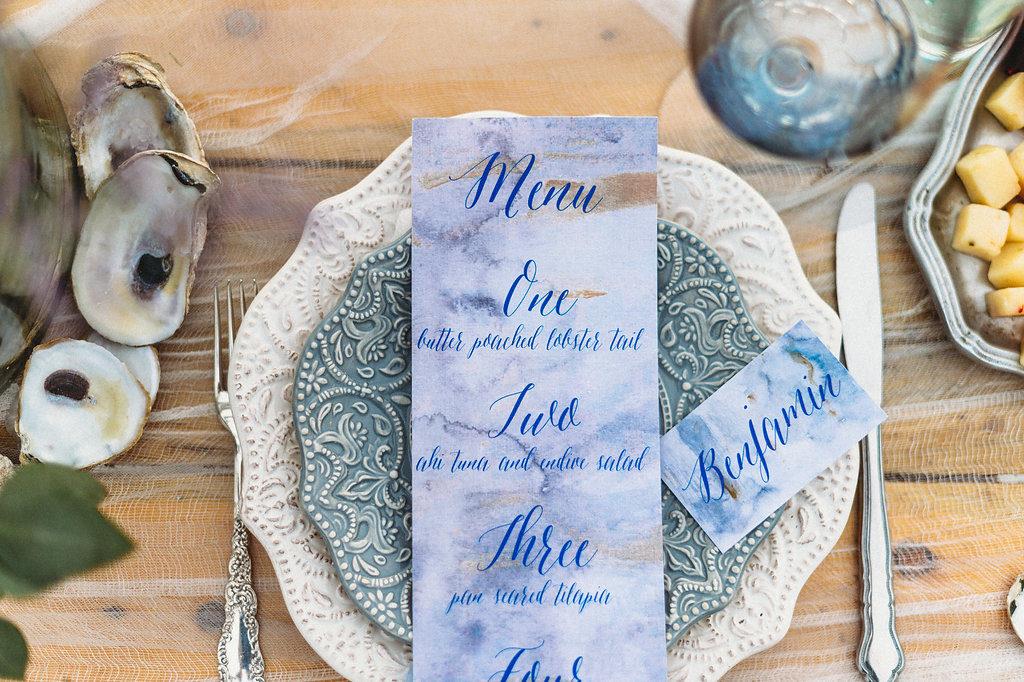 Coastal St. Pete Beach Redington Shores Wedding Reception Decor, Dusty Blue Textured Plate on Ivory Textured Plate, Custom Watercolor Blue Script Place Card and Menu