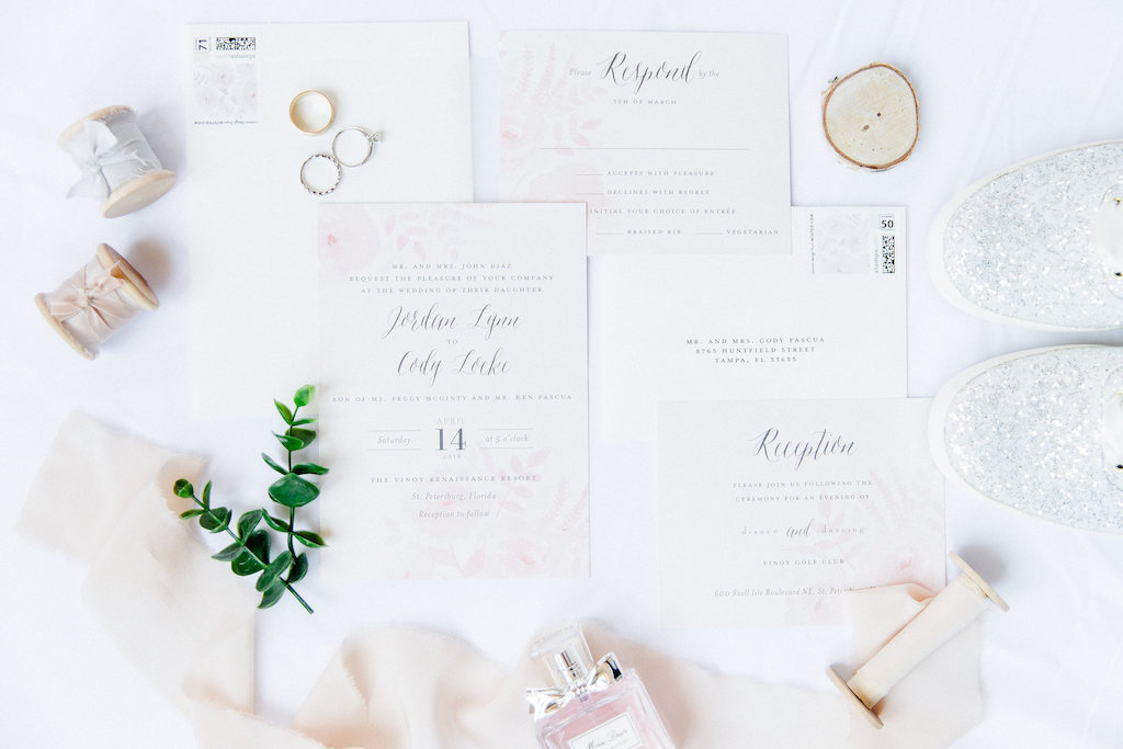 Elegant Blush Pink and White Wedding Invitation, Silver Sparkle Shoes, Wedding Rings and Perfume Bottle   Tampa Bay Wedding Photographer Ailyn La Torre