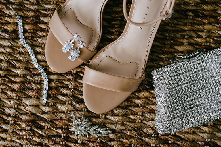 Nude Open Toe Strappy Wedding Shoes, Wedding Jewelry and Rhinestone Clutch | Tampa Bay Photographer Grind and Press