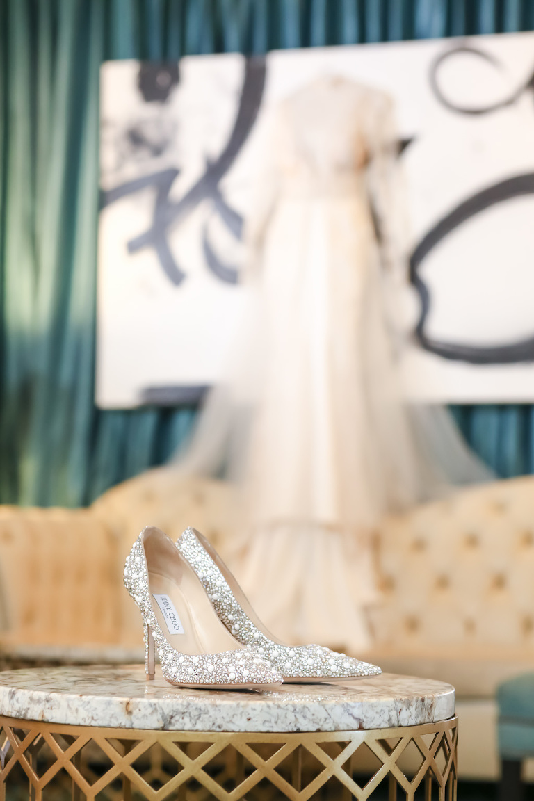 Rhinestone Silver Jimmy Choo Pointed Toe Stiletto Wedding Shoes | St. Petersburg Photographer Lifelong Photography Studios
