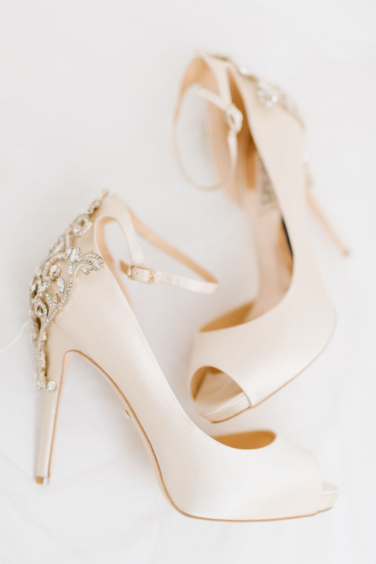 Ivory Peep Toe Stiletto Wedding Shoes with Rhinestone Accent