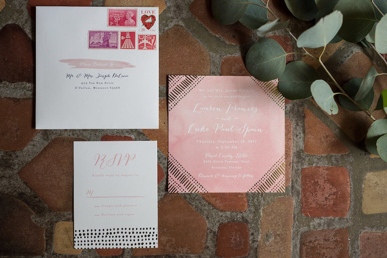 Blush Pink Watercolor Square Wedding Invitation and RSVP Card | Tampa Bay Photographer Cat Pennenga Photography