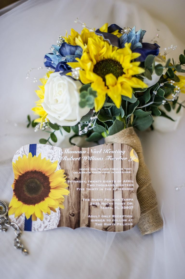 Rustic Yellow Sunflower Wedding Invitation and Yellow Sunflower, Blue, White Rose and Greenery Floral Bouquet Wrapped in Burlap | Tampa Bay Photographer Andi Diamond Photography
