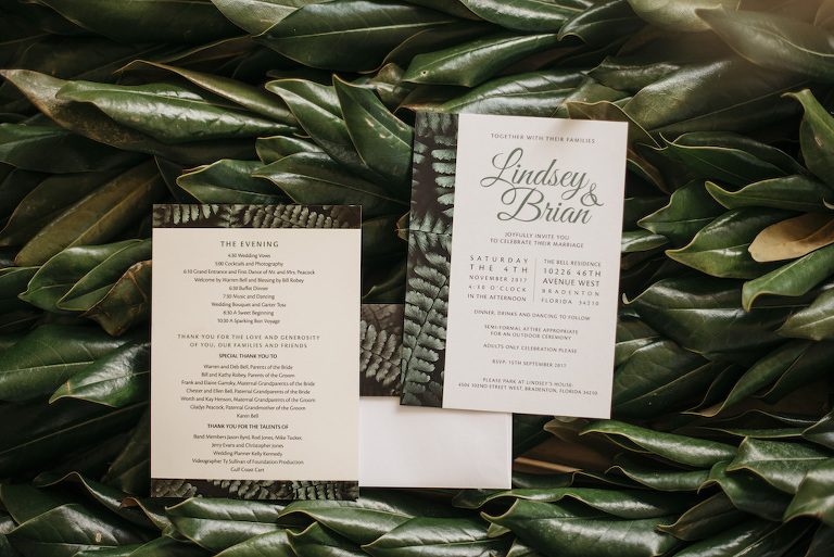 Green Old Florida Inspired Wedding Invitation Stationery and Ceremony Program