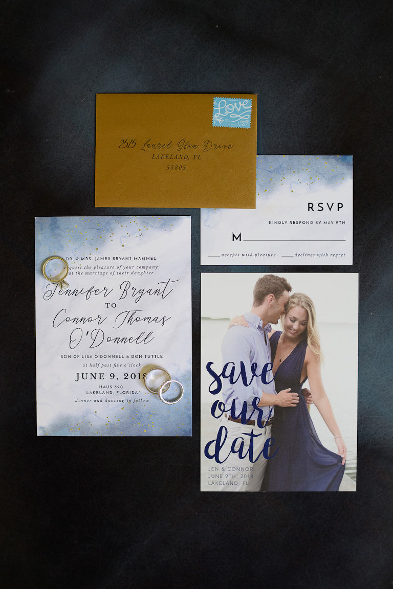 Blue Wedding Photo Stationery Invitations and Save the Dates, Wedding Rings