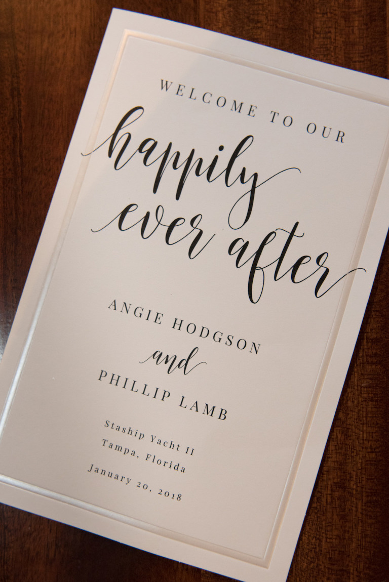 Elegant, Modern White and Black Font Wedding Invitation with Gold Foil
