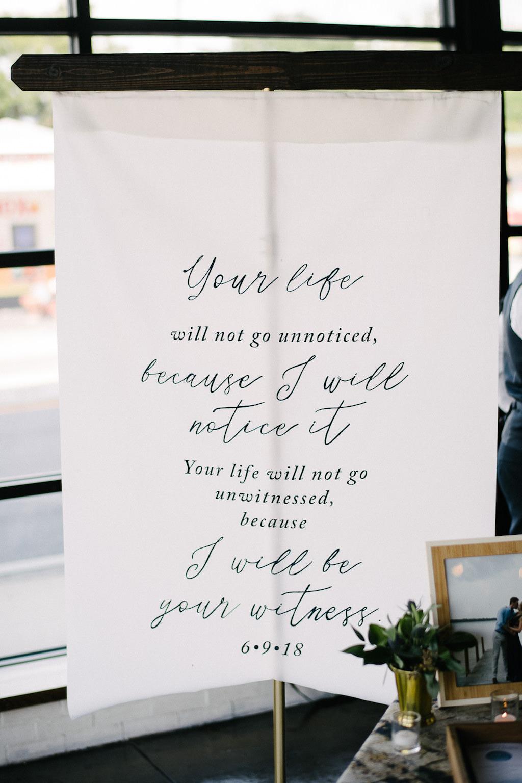 White Fabric Banner Wedding Ceremony Decor Sign