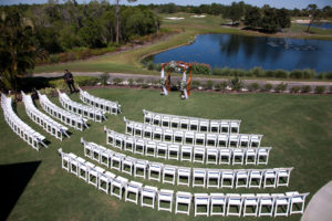 Outdoor Lawn Ceremony with Curved Semi Circle Seating Arrangement Lakewood Ranch Golf and Country Club Wedding Ceremony   Sarasota Wedding Photographer Carrie Wildes Photography