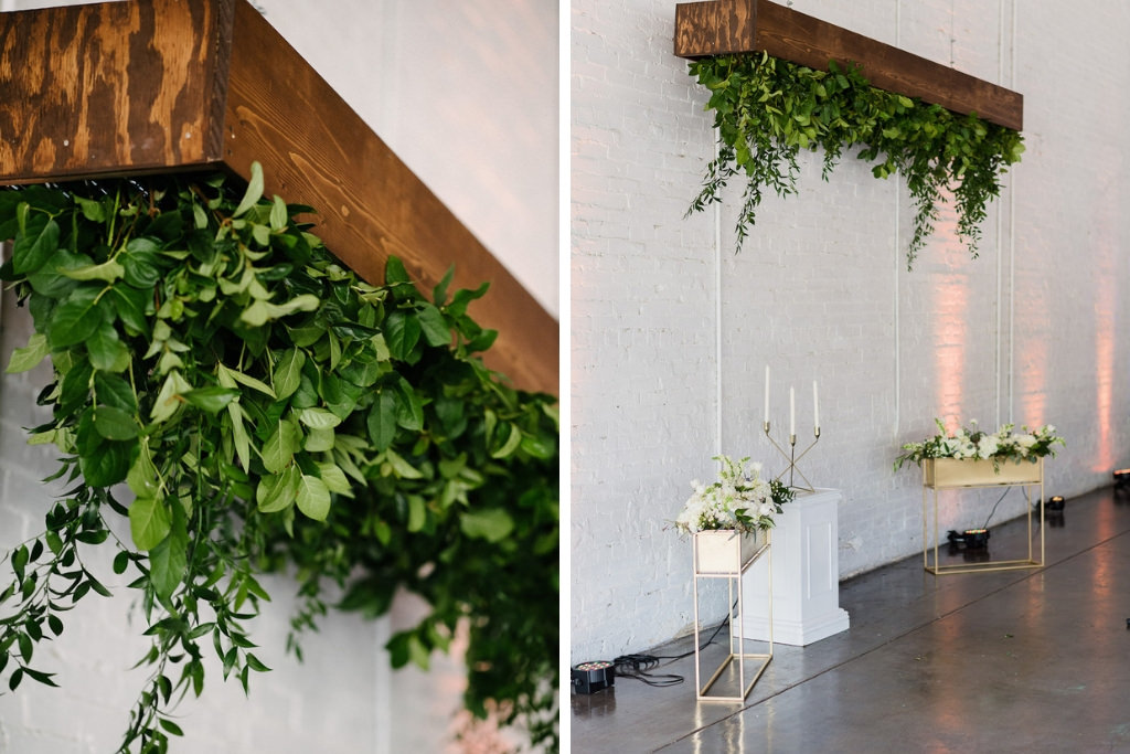 Wedding Ceremony Decor, Upside Down Wooden Planter with Greenery, White Pedestal and Gold Candlestick, Gold Planterboxes with White and Green Florals | Lakeland Wedding Venue Haus 820