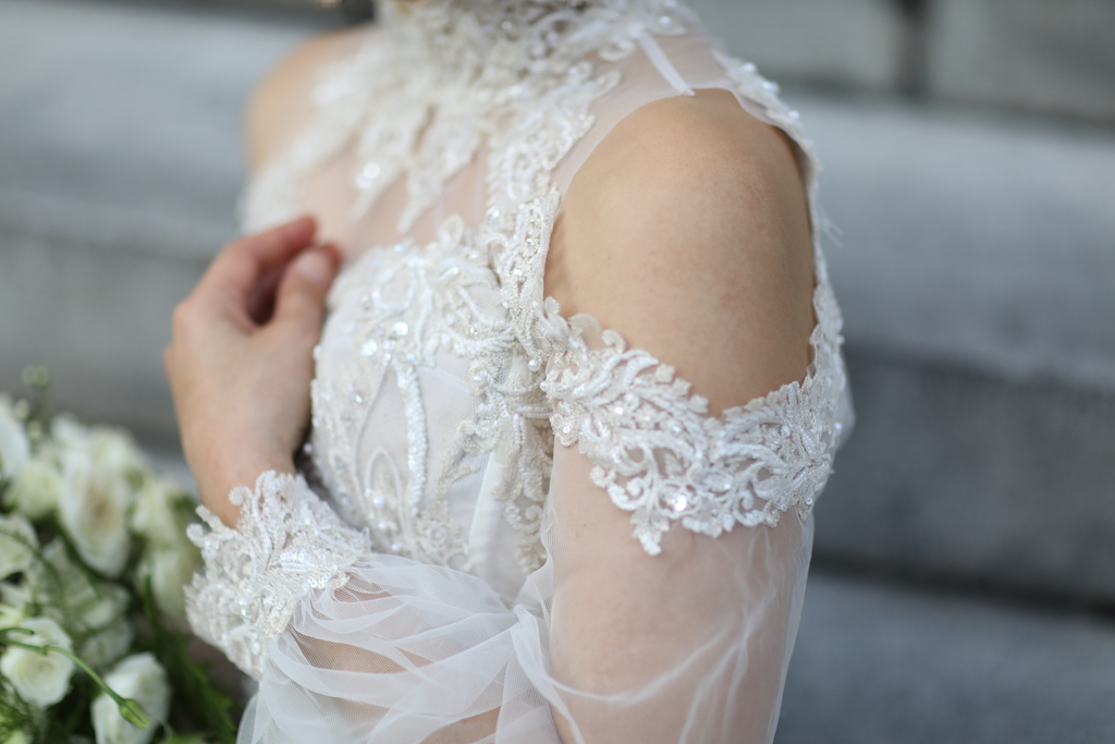 Illusion Long Sleeve Lace and Rhinestone High Neck Wedding Dress with Shoulder Cut Out   Marry Me Tampa Bay and Isabel O'Neil Bridal Fashion Runway Show 2018   Tampa Wedding Photographer Lifelong Photography Studios