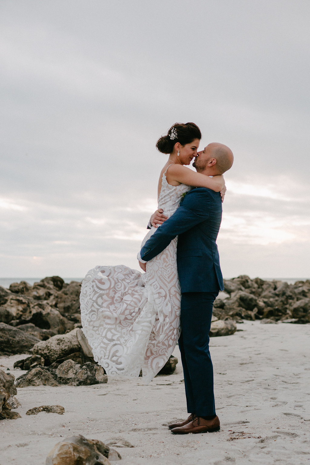 Destination Clearwater Beach Bride and Groom Intimate Romantic Wedding Portrait | Tampa Bay Photographer Grind and Press Photography | Hair and Makeup Michele Renee the Studio | Planner Special Moments Event Planning