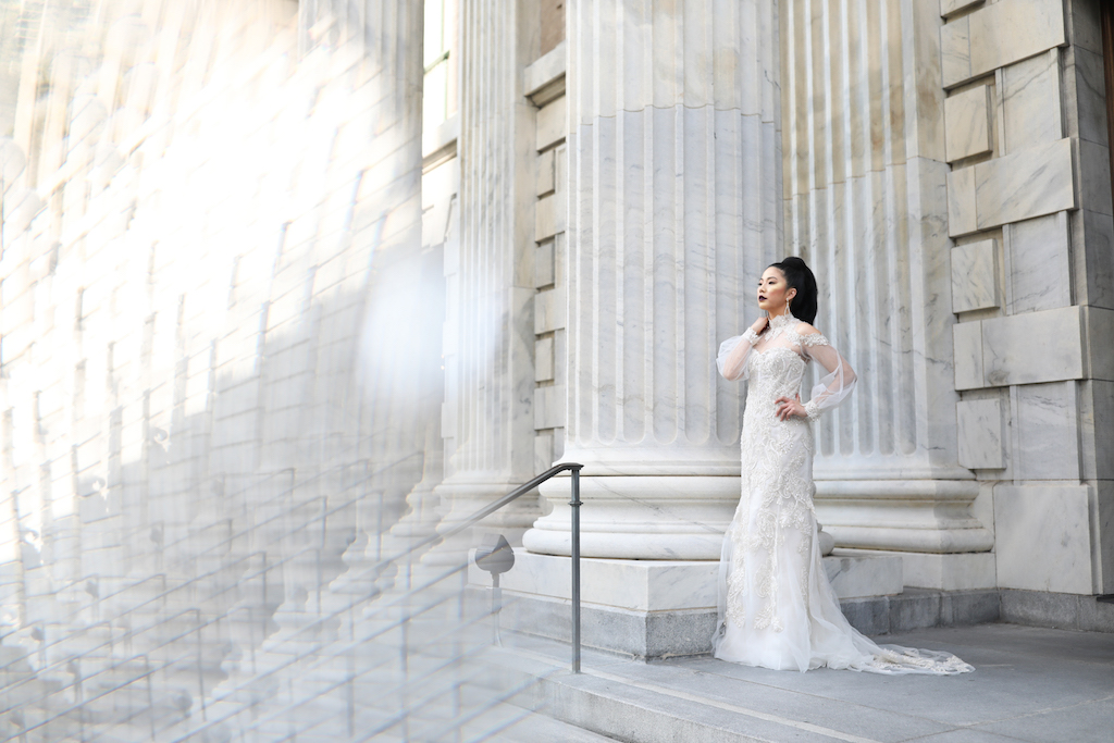 Illusion Long Sleeve Lace and Rhinestone High Neck Wedding Dress with Shoulder Cut Out   Marry Me Tampa Bay and Isabel O'Neil Bridal Fashion Runway Show 2018   Tampa Wedding Photographer Lifelong Photography Studios  Historic Downtown Tampa Venue Le Meridien
