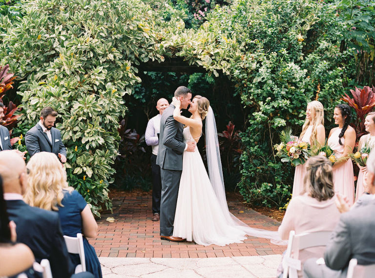 Outdoor Tropical Garden Wedding Ceremony Portrait | Outdoor St. Petersburg Wedding Venue Sunken Gardens | Planner Southern Glam Events and Weddings