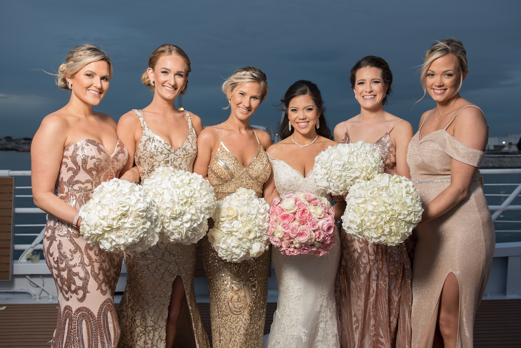 Outdoor Waterfront Bridal Party Portrait Bridesmaids In