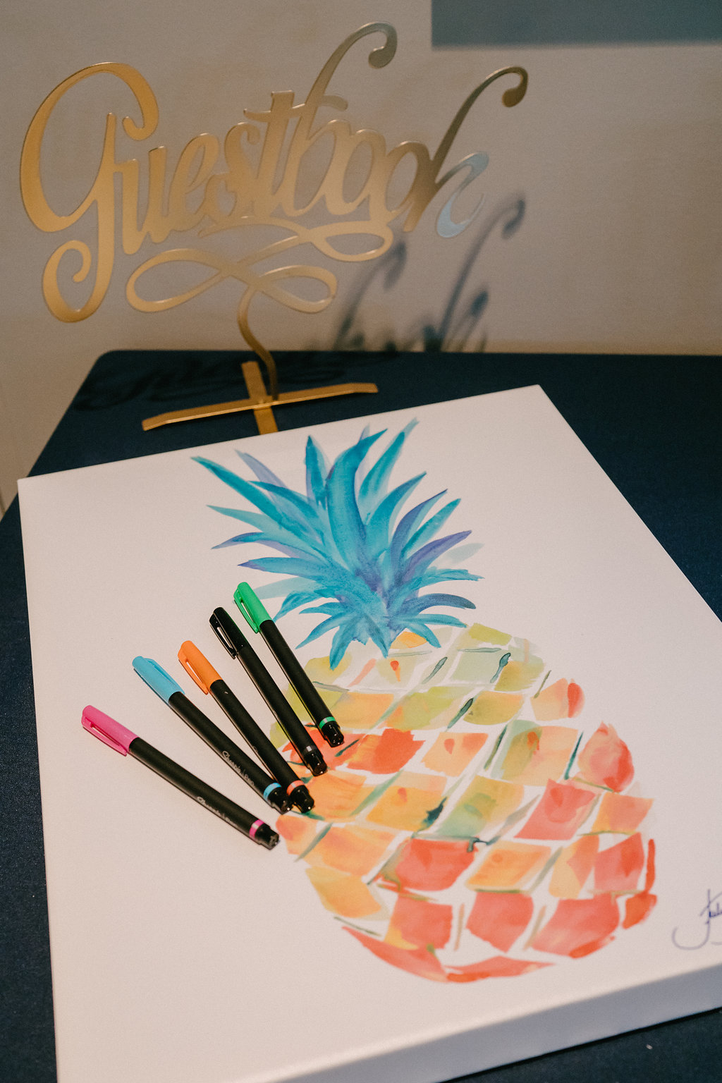 Pineapple Watercolor Canvas Art Guest Book | Tampa Bay Photographer Grind and Press
