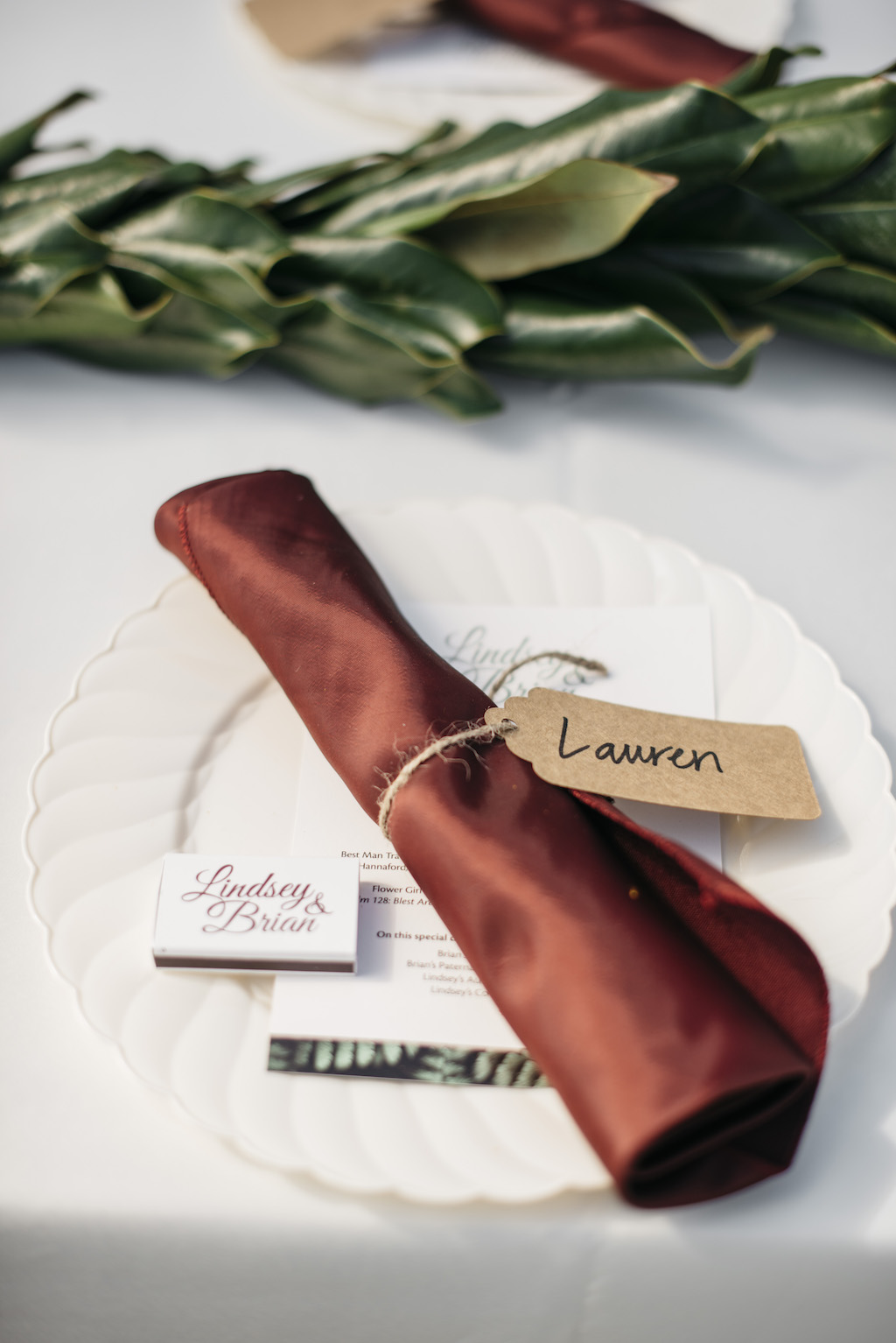 Wedding Reception Decor, White Plate with Burgundy Silk Linen | Tampa Bay Wedding Planner Kelly Kennedy Weddings and Events