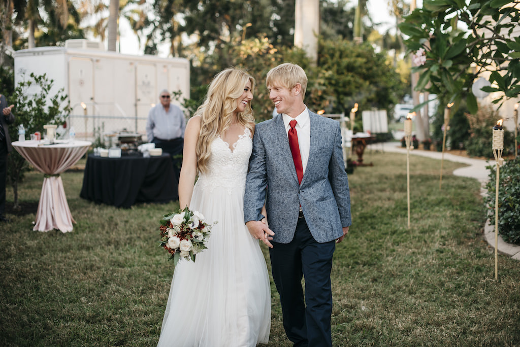 Outdoor Wedding Reception Bride and Groom Portrait, Bride in Empire Waist Lace Bodice and Lace Strap Dress with Ivory, Burgundy and Greenery Floral Bouquet, Groom in Blue Paisley Suit with Burgundy Red Tie | Tampa Bay Wedding Planner Kelly Kennedy Weddings and Events
