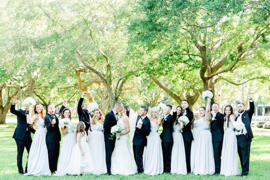 Outdoor Bridal Party Wedding Portrait, Bridesmaids in Grey Dresses, Groomsmen in Black Tuxedos   Tampa Wedding Photographer Ailyn La Torre
