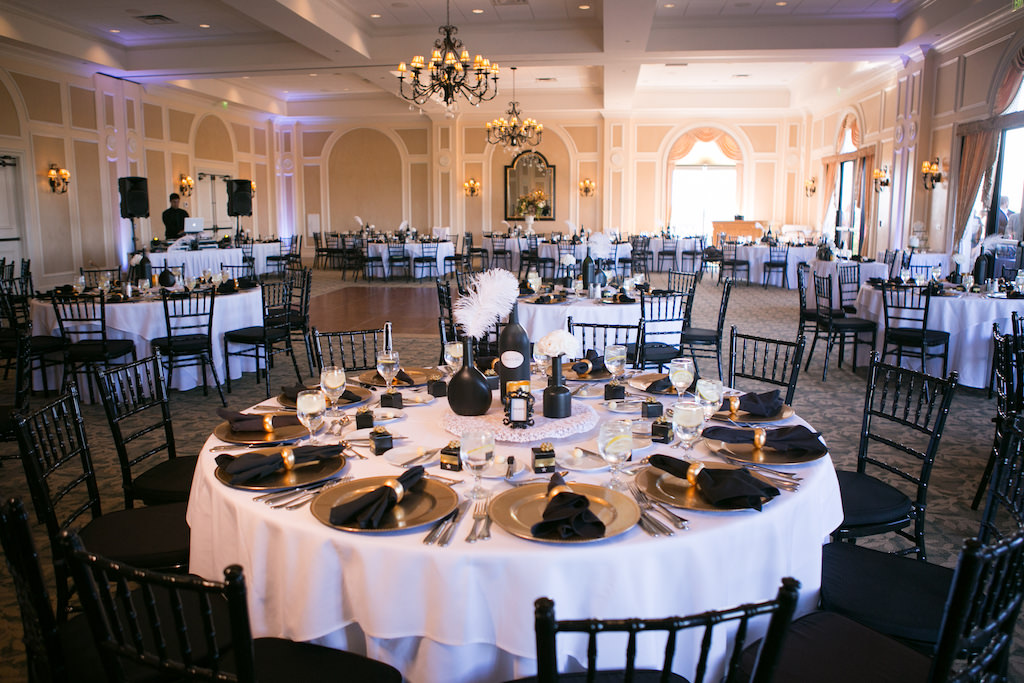Indoor Ballroom Wedding Reception Decor With White Tablecloths