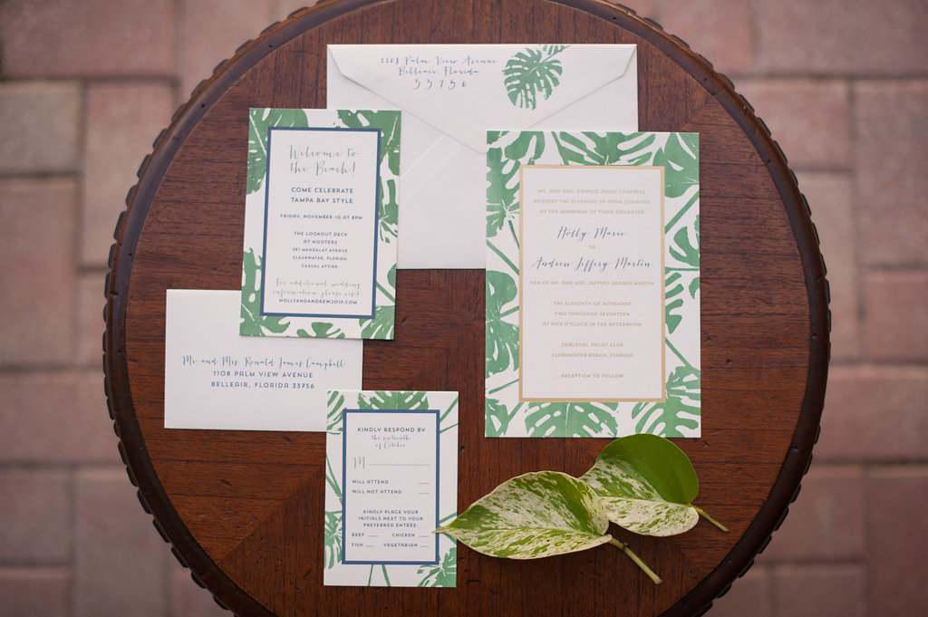 Custom Tropical Banana Leaf Invitation Suite by Tampa Wedding Invitation Designer URBANCoast
