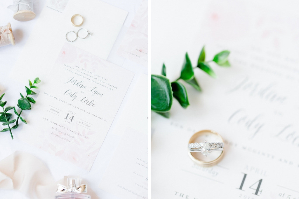 Elegant Blush Pink and White Wedding Invitation and Wedding Rings   Tampa Bay Wedding Photographer Ailyn La Torre
