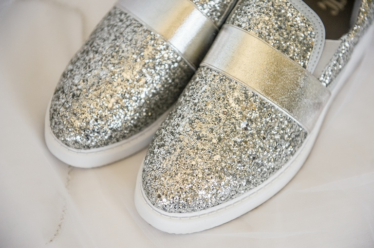 Silver Sparkle Rhinestone Wedding Sneakers | Tampa Bay Photographer Andi Diamond Photography